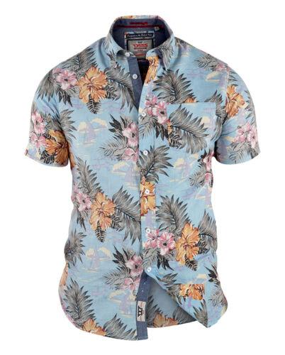 * Nuovo Da Uomo Big Size Duca d555 Cotone Camicia Hawaiana 3xl 4xl 5xl 6xl 7xl 8xl