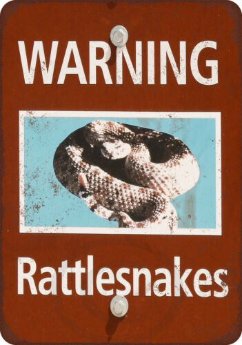 Warning Rattlesnakes vintage look Reproduction metal sign 8 x 12