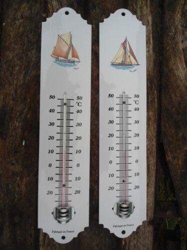 Thermomètre émaillé 30cm bateau voilier émail véritable neuf ext //Int Fab France