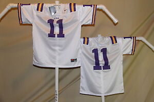 reputable site 80968 b0ab6 Details about LSU TIGERS Nike #11 FOOTBALL JERSEY Youth Large $46 retail  NwT white