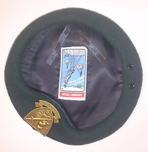 BERET-de-COMMANDOS-MARINE-avec-insigne-et-flot-Special-Commando-Taille-L-TT-58