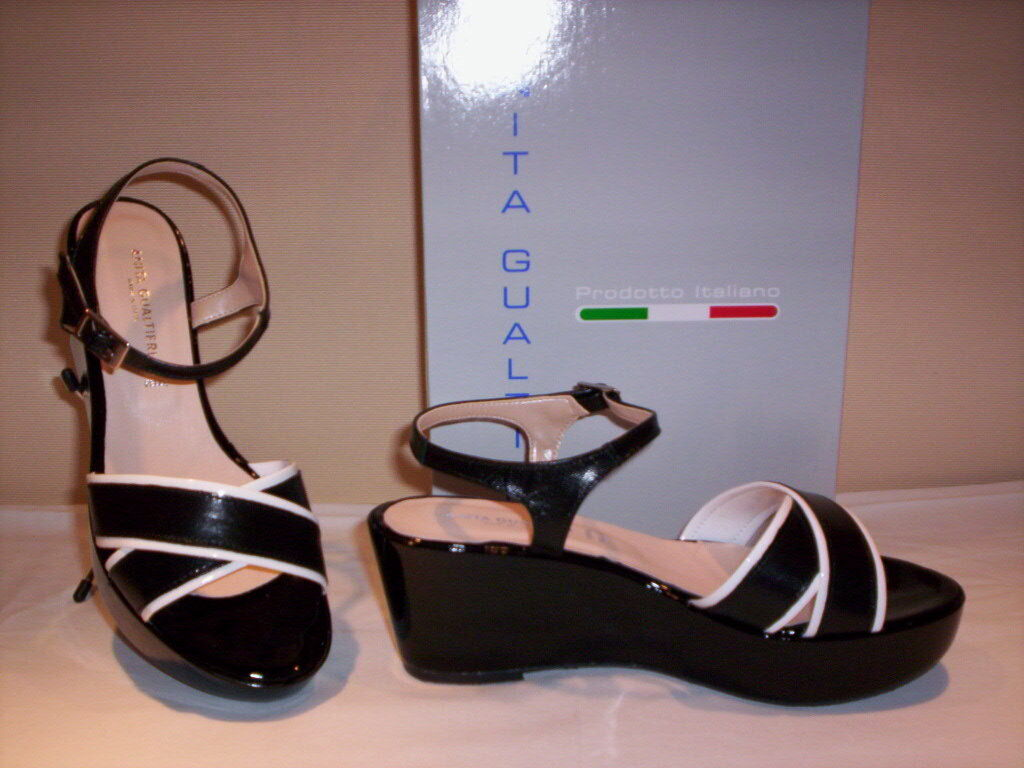 Anita Gualtieri shoes sandals elegant casual woman wedge plateau leather black