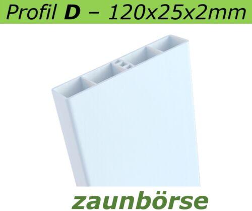 weiss L=84 cm Profiware Kunststoffbretter Geländer 120x25x2mm Zaunbretter D