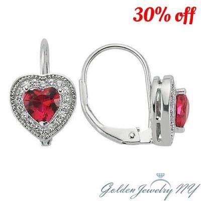 Women Girl Solid 925 Silver Birthstone Heart-Shape Huggie Hoop Earrings.