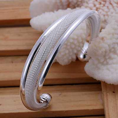 *UK* 925 SILVER PLT ADJUSTABLE OPEN CURVED MESH CHAINMAIL WOVEN BRACELET BANGLE