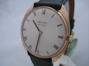 NOS-NEW-SWISS-MADE-GOLD-PLATED-HAND-WINDING-MEN-039-S-RECORD-DE-LUXE-WATCH-1960-039-S