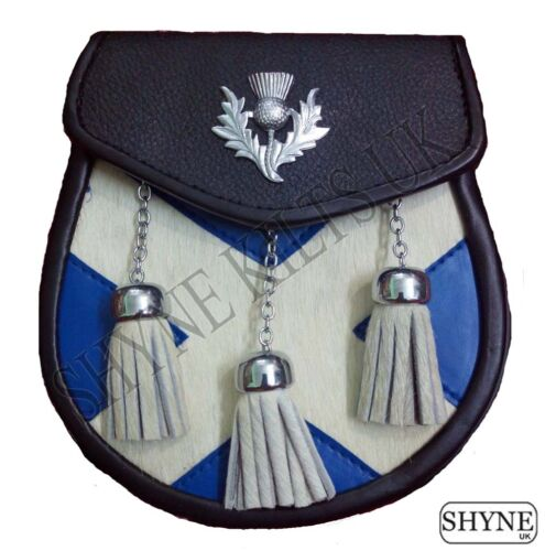 SEMI DRESS SPORRAN CALF SKIN SPORRAN LEATHER WITH SALTIRE AND THISTLE DESIGN