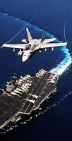 Fighter Jet Flying Over Aircraft Carrier Themed Cornhole Board Prints / Wraps