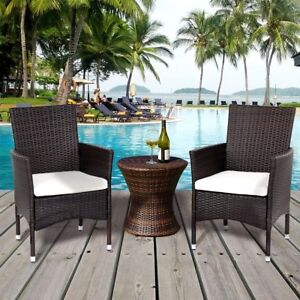 Image Is Loading Rattan Wicker 2pcs Set Single Dining Chairs W