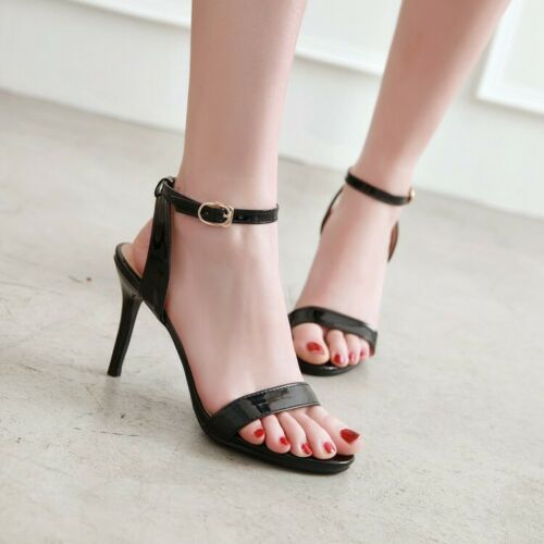 Size US 4-14 Womens High Heels Ankle Strap Shoes Candy Colors Sandals Slingbacks