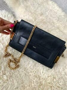 Authentic-Chloe-Elle-Medium-Clutch-Bag-with-Chain-Strap-Black