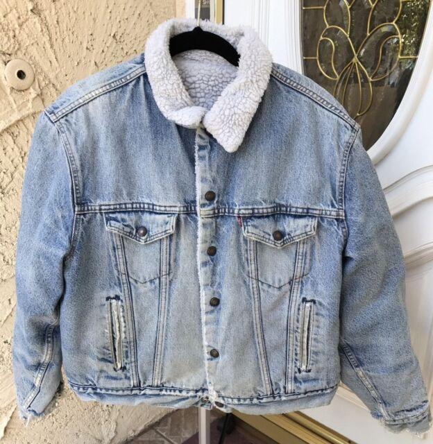 Vintage 1980s Levis 46r Blue Sherpa Jean Jacket 70608 0216 Made In Usa Denim Wow For Sale Online Ebay