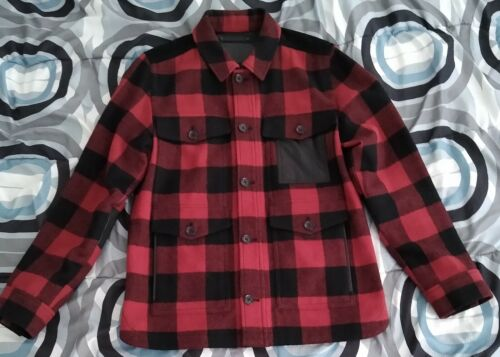 Coach New York Plaid Wool Leather Jacket S Men CPO