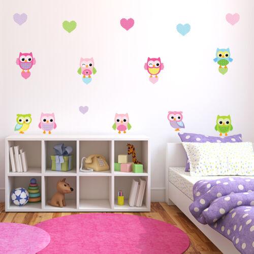 Children/'s Cute Pink Owl Wall Stickers CheekyBabyOwls Owls.4.M