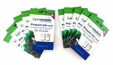 LYCAMOBILE 29$ X10 SIM CARD PRELOADED 1 Month Plan Text Talk Data & Intl Calling