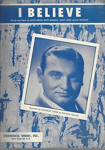"""i Believe"" Sheet Music Recorded By Frankie Laine On Cover 1953 . L13 Les Consommateurs D'Abord"