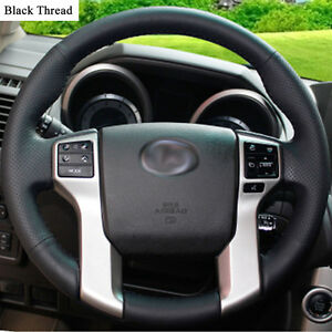 New-DIY-Sewing-on-PU-Leather-Steering-Wheel-Cover-Exact-Fit-For-Toyota-Prado