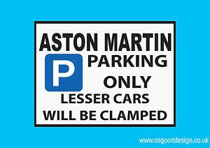 Aston Martin Parking Only Vinyl Sticker Vanquish DB11 V8 Rapide Vantage V12 D077