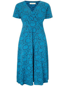 Seasalt-Chapelle-Dress-size-12S-and-14S-sunflower-garden-night-blue-cotton