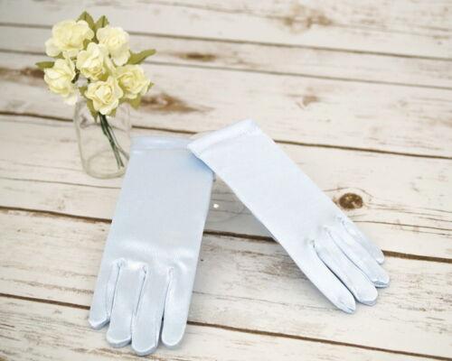 Girls Blue Satin Wrist Gloves Tea Party Dress Frozen Princess Costume Age 4-12