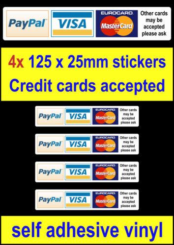 4 Credit Card Payment Vinyl Stickers Shop door taxi bus cafe bar window visa