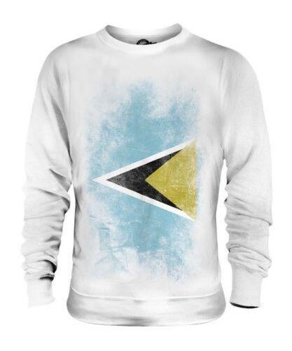 Saint Lucia Verblichen Flag Unisex Pullover Top St.Lucia Hemd Trikot Geschenk