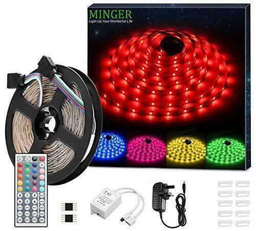 MINGER LED Strip Light Waterproof 16.4ft RGB SMD 5050 LED Rope Lighting Color