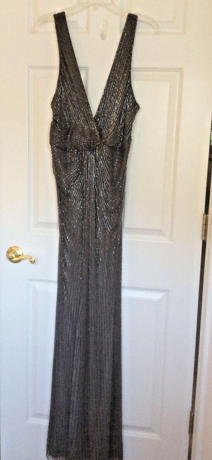 Parker Black Stunning Beaded Body Con Formal Wear Split Front Women Dress