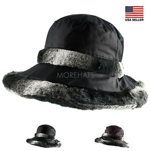 Morehats Plush Bucket Hat Faux Fur Warm Boonie Outdoor Ski Winter ... a836a3e17a2