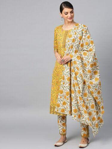 Details about  /Indian Bollywood Designer cotton Kurta with Plazzo /& Dupatta Tunic KS17