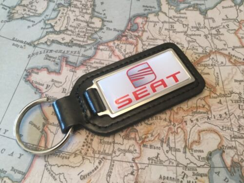 SEAT PRINTED Quality Black Real Leather Key ring Fob OBLONG