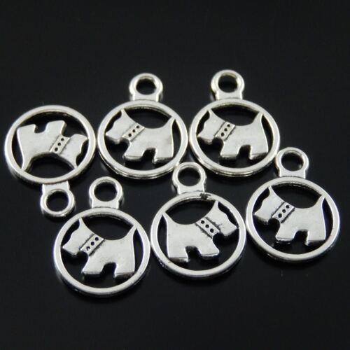 60 Stück Antike Silber Ton Legierung Runde Süßer Hund Charme Kunst Anhänger
