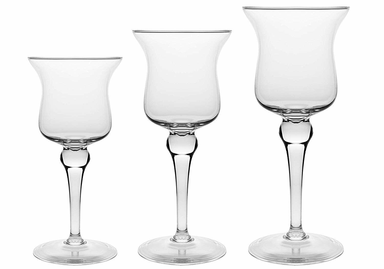 Barski European Hand Blown Glass Set 3-Pillar candleholder-11.5 H,13.25 H,15.5 H