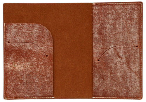 Genuine leather passport holder case Waxy Brown cover wallet card protect travel