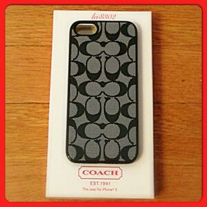 new style 5dd85 31d4e Details about New COACH Cellphone Case for iPhone 5 - Signature - F64397 -  Black