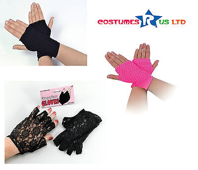 Gothic Cosplay #Fingerless Lace Gloves Black / Pink Halloween Retro Fancy Dress