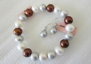 Mulit-Color-Freshwater-Pearl-Bracelet-and-Earring-Set-925-Sterling-Silver