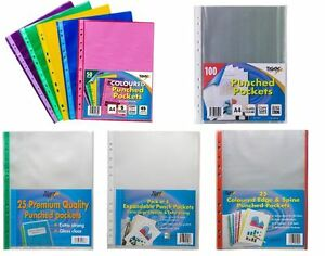 Details about A5 A4 A3 A2 A1 Punch Punched Pockets Filing Clear Display  Sleeves Ring Binders