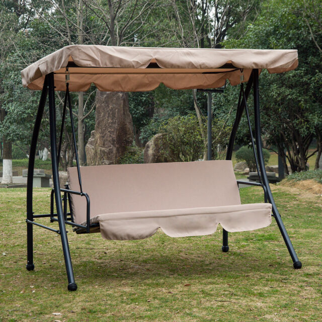 Outsunny 2 In 1 Patio Swing Chair 3 Seater Hammock Cushion Bed Tilt Canopy For Online Ebay