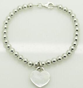Italian-Solid-Vintage-Sterling-Silver-925-Heart-Charm-Ball-Link-Bracelet-7-5-034