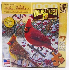1000-piece-Puzzle-Kim-Norlien-Snow-Scene-Church-Cardinals-Birds-Panoramic