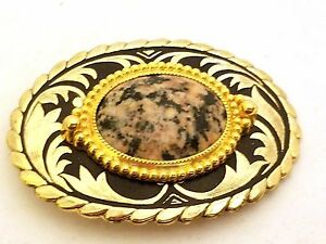Gold-Tone-Belt-Buckle-Stone-Cabochon-Vintage
