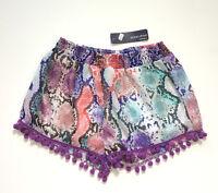 Ocean Drive Clothing Co. Pom Pom Short Shorts Snake Skin Animal Print