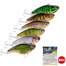 6pc 7cm//6.6g VIB Bait 3D Eyes CrankBaits Fin Tackle 8# Hooks Fishing-Lures 1A