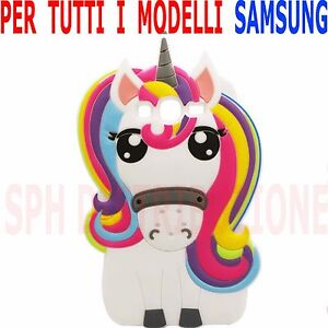 COVER-Pellicola-Custodia-UNICORNO-3D-PONY-morbida-in-SILICONE-per-Samsung-Galaxy