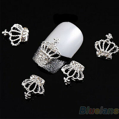 10x 3D Grail Alloy Rhinestones Crown Nail Art Tips Glitters Beads DIY Cool PHA