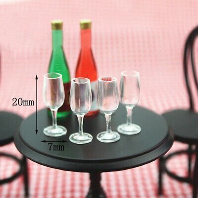 4Pcs 1:12 Dollhouse miniature goblet cup doll house kitchen wine glass cup*ss