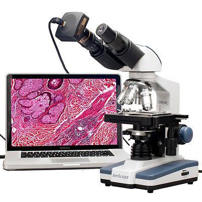 AmScope 40X-2000X LED Binocular Digital Compound Microscope w 3D Stage + USB Cam