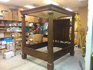Image is loading Late-1700s-English-Four-Post-Canopy-Bed-Cypress- & Late 1700s English Four Post Canopy Bed Cypress Wood Colonial As ...