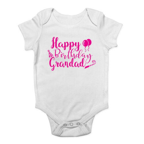Happy Birthday Grandad Pink Girls Baby Grow Vest Bodysuit